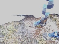 Shoes in snow mud water