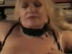 horny granny blond big tits whore masturbates