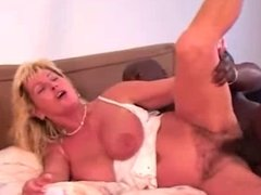 Very Hairy Busty Mature White Wife Sucks and Fucks a BBC