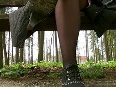 Outdoors Black Nylons