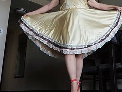 Sissy Ray in Gold Satin Dress Upskirt