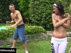 Brunette teen Vivien gets fucked in the garden