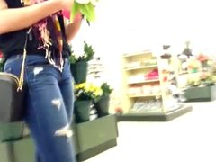 Sexy teen bitch at hobby store in tight jeans