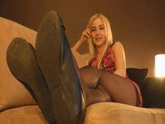 Sexy blonde nylon tease