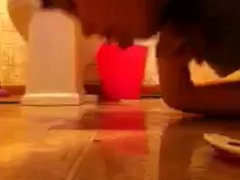 Girl squirts on floor then licks it up