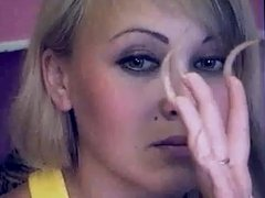 Long nailed, pointed clawed Russian model on cam