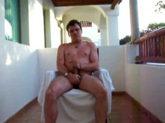 Jerking on a balcony in Mexico