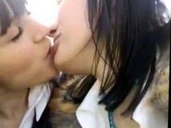 Amateur lesbians brunette nice kissing