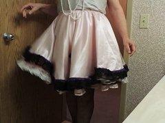 Sissy Ray in Pink Sissy Dress in hotel bathroom