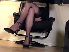 Sexy Hot Secretary Upskirt Stockings Under Desk