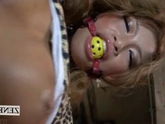 Subtitled uncensored Japanese gyaru bondage ball gag teasing