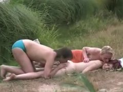 Caught Having a Threesome Outdoors