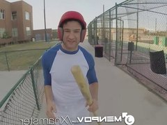 HD MenPOV - Baseball player takes hard bat in the ass