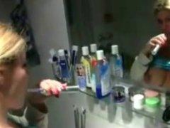Banged while Brushing her Teeth