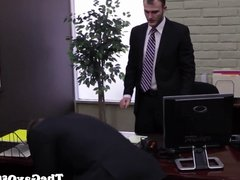 Tattooed officestud rams applicants asshole all over his des