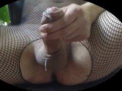 ejaculation en catsuit resille
