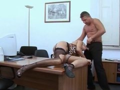 italian milf is being fucked on a work desk