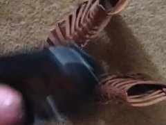 Wife's gladiator shoes get fucked and cummed