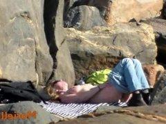 Voyeur at nude beach in spring time