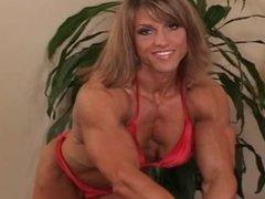 FBB Gina Davis flexing in bikini