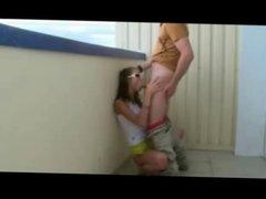 Cute Teen has Sex on the Balcony