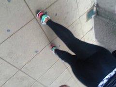 candid black azz in see thru leggings