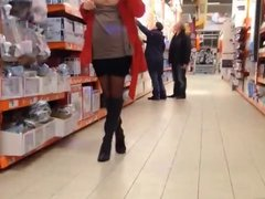 German beauty flashing in the store