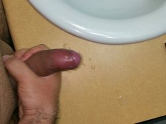 Jacking my Fat uncut Cock before a Shower
