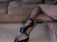 sexy black seamed pantyhose and stilettos