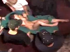 Naked girl tossed around by friends
