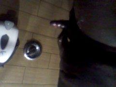 Polishing my knob in public gym shower
