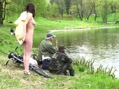 Naughty in public Nude hottie Fishermen dont even care