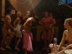party. Russian girls in Sauna.
