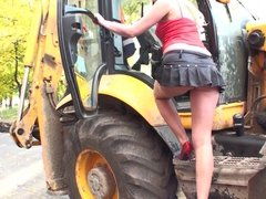 Naughty in public Blonde girl putting a show for the guys