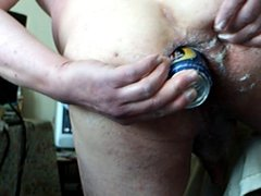 Standing anal gaping + beer can 2