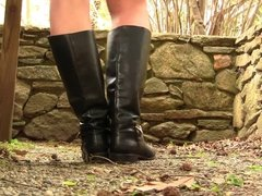 Vanessa black leather boots shoeplay modelling