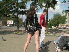 Naughty in public Naked under matrix coat xaxa