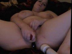Chubby girl's DP masturbation