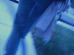 Girlfrient hot ass hidden cam walking with tight pants thong