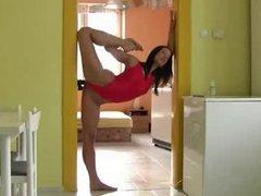 Very Sexy Elastic Girl Fucks Wall dildo