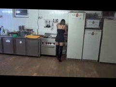 Sexy young brunette fucked in the kitchen