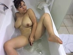 Big titted latina plays with her toy