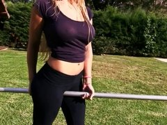 Amazing Body Busty Blonde Teen! Showing Ass In Tight Pants!