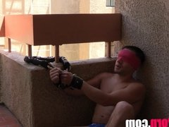 Dylan Knight bound and blind folded MALE FEET FOOT WORSHIP