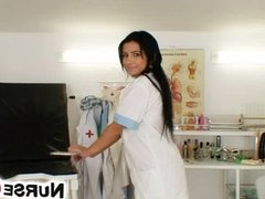 Hottest latina Victoria Rose nurse uniform stockings and