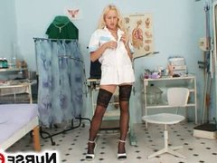 Hot blonde Angel Wicky stockings and masturbation on