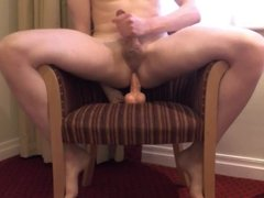 Balls deep anal on a hotel chair!