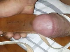 Teenager leather sandals spanking and cummed