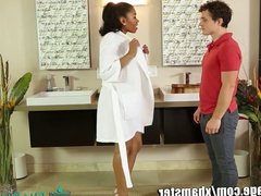NuruMassage Ebony Masseuse on White Client