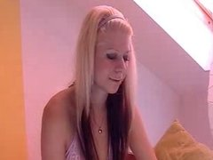 Small tits blonde dancing in underwear, no nude